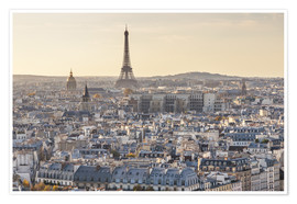 Premiumposter Eiffel tower and city of Paris at sunset, France
