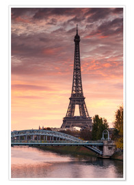 Premiumposter  River Seine and Eiffel tower at sunrise, Paris, France - Matteo Colombo