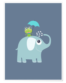 Premiumposter One frog and one elephant