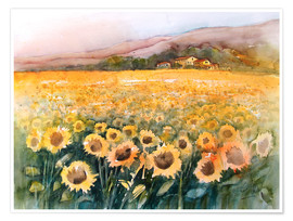 Premiumposter  Sunflower field in the Luberon, Provence - Eckard Funck