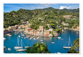 Poster Harbor of Portofino in Liguria, Italy
