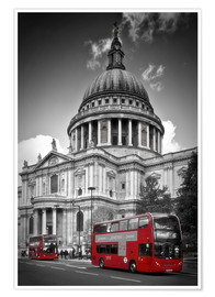 Premiumposter LONDON St. Paul's Cathedral and Red Bus