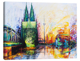 Canvastavla  Cologne Cathedral Skyline colored - Renate Berghaus
