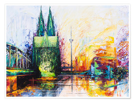 Premiumposter  Cologne Cathedral Skyline colored - Renate Berghaus