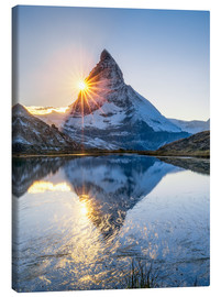 Canvastavla  Riffelsee and Matterhorn in the Swiss Alps - Jan Christopher Becke