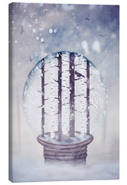 Canvastavla  Snowglobe with birch trees and raven - Sybille Sterk