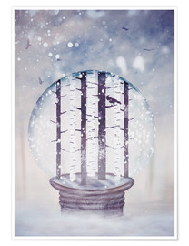 Premiumposter Snowglobe with birch trees and raven