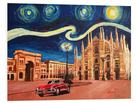 PVC-tavla  Starry Night in Milan Italy Oldtimer and Cathedral - M. Bleichner