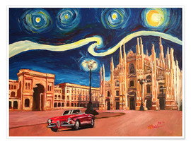 Premiumposter Starry Night in Milan Italy Oldtimer and Cathedral
