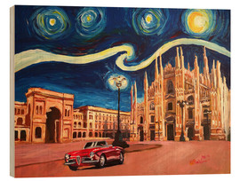 Trätavla  Starry Night in Milan Italy Oldtimer and Cathedral - M. Bleichner