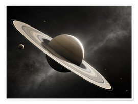 Premiumposter  Planet Saturn with major moons - Johan Swanepoel