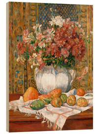 Trätavla  Still Life with Flowers and Prickly Pears - Pierre-Auguste Renoir