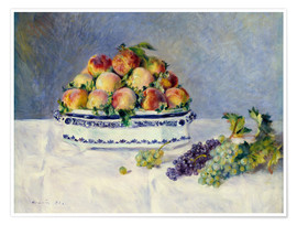 Premiumposter Still life with peaches and grapes