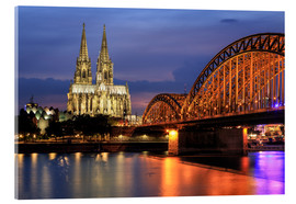 Akrylglastavla  Cologne Cathedral and Hohenzollern Bridge at night - Oliver Henze