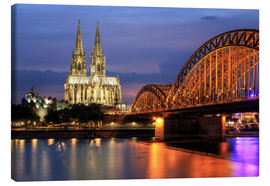 Canvastavla  Cologne Cathedral and Hohenzollern Bridge at night - Oliver Henze