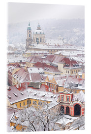 Akrylglastavla  winter roofs of Ledebursky palace and St. Nicolas church, Prague