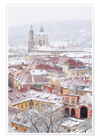 Premiumposter  winter roofs of Ledebursky palace and St. Nicolas church, Prague