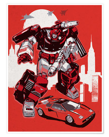 Premium poster alternative sideswipe retro transformers art print