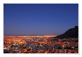 Premiumposter  Cape Town at night, South Africa - wiw