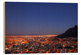 Trätavla  Cape Town at night, South Africa - wiw