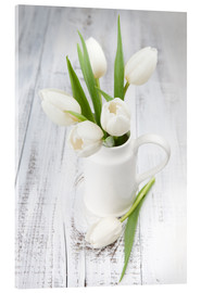 Akrylglastavla  White tulips on whitewashed wood