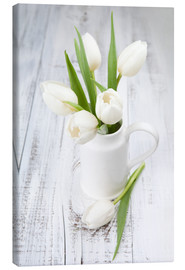 Canvastavla  White tulips on whitewashed wood