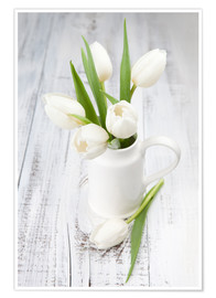 Premiumposter  White tulips on whitewashed wood