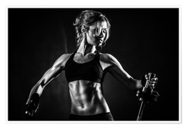 Poster  Sportswoman with barbell
