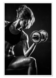 Poster  Sportswoman with dumbbell