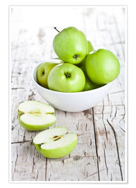 Premiumposter Green apples in a bowl