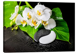 Canvastavla  White orchids and Yin-Yang stones