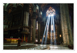 Premiumposter  Beams of Light inside Milan Cathedral