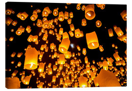 Canvastavla  Sky lanterns in Chiangmai