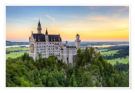 Premiumposter  Neuschwanstein Castle at sunrise in summer - Michael Valjak