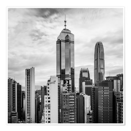 Premiumposter Houses Sea Hong Kong in black and white