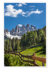 Premiumposter  Villnoess valley with Dolomites in South Tyrol (Italy) - Christian Müringer