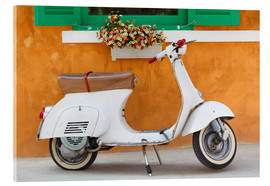 Akrylglastavla  White scooter in front of a window