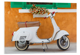 PVC-tavla  White scooter in front of a window