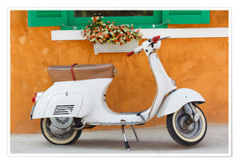 Premiumposter  White scooter in front of a window