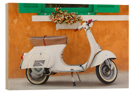 Trätavla  White scooter in front of a window