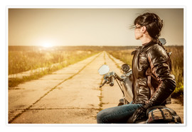 Premiumposter Biker girl in a brown leather jacket