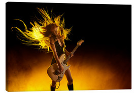 Canvastavla  Rock girl with an electric guitar