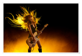 Premiumposter  Rock girl with an electric guitar