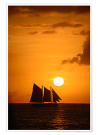 Premiumposter  Sailing ship and sunset, Key West