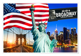 Premiumposter New York City Photo Collage with Statue of Liberty
