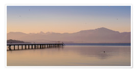 Premiumposter Dawn at Lake Chiemsee