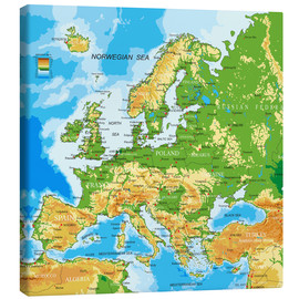 Canvastavla  Europe - Physical Map