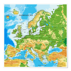 Premiumposter Europe - Physical Map