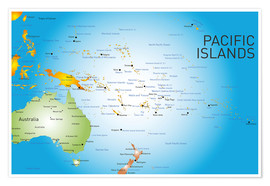 Poster Pacific Islands - Map