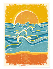 Premiumposter Sea waves and yellow sand beach